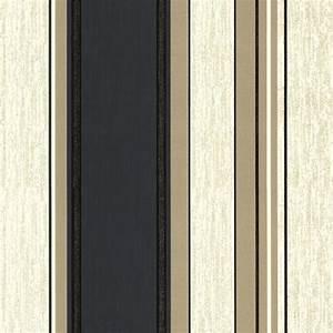 Vymura Synergy Striped Wallpaper Cream, Gold, Black (M0909 ...