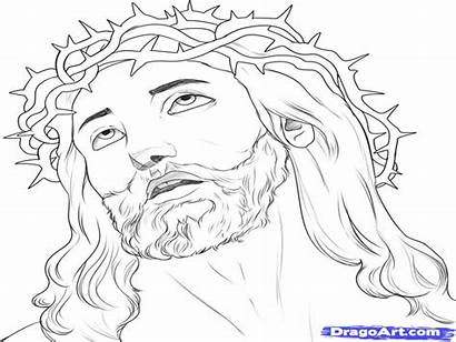 Jesus Drawing Outline Face Draw Coloring Step