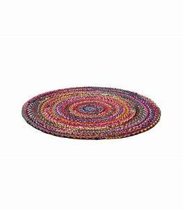 Tapis Rond Design : tapis multicolore design rond en tissus de coton m lang diam 100cm ~ Teatrodelosmanantiales.com Idées de Décoration