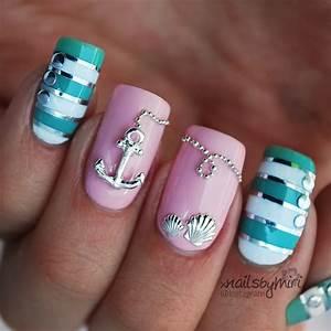 Pink mint nautical nails nail art by xNailsByMiri ...