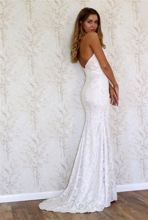 lace wedding dresssimple bohemian style wedding gown
