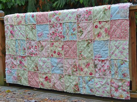shabby fabrics rag quilt shabby chic rag quilt summer evening