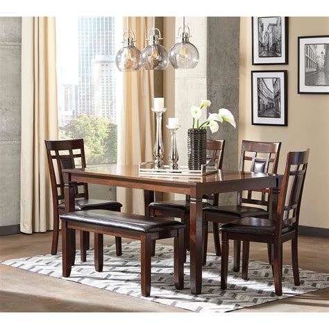 Dining Room Tables Sets by Contemporary 6 Dining Room Table Set With Bench By