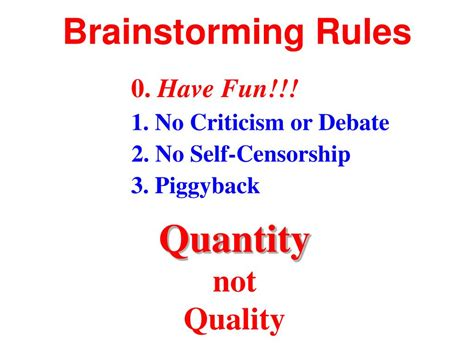 PPT - Brainstorming Rules PowerPoint Presentation, free ...