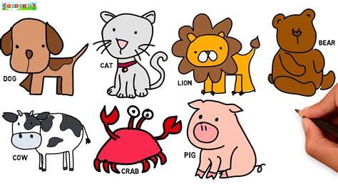 draw animals cartoon drawing cute easy art learn