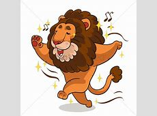 Cartoon lion singing and dancing Vector Image 1957561