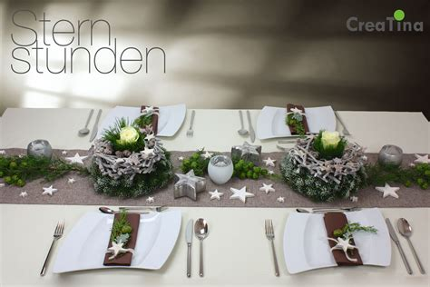 Tischdeko Weihnachten Weiß Silber by Creatina Tischdeko Box Weihnachten Als Set Quot Sternstunden