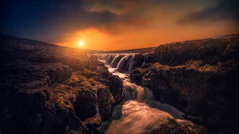 Wallpaper Rocks Stream Sunset Hd 5k Nature 3914
