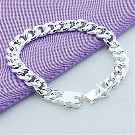 Gelang Rantai Geometris Perak jual gelang rantai pria lapis perak 925 10mm curb chain