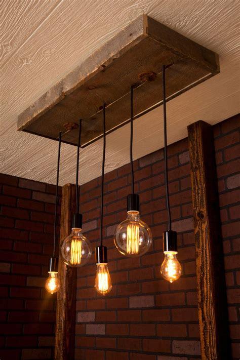 industrial lighting wood chandelier  reclaimed wood