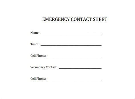 emergency information form template costumepartyrun