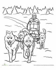 Iditarod Sled Dogs Coloring Page