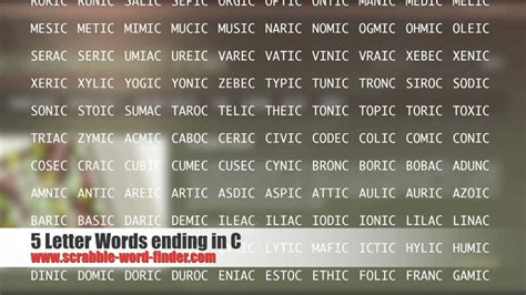 4 letter words ending in c 5 letter words ending in c 22402