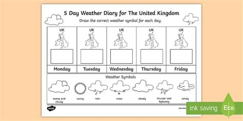day weather diary   united kingdom worksheet