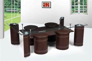 Table Basse Cuir : table basse design avec poufs norma verre et simili cuir blanc noir chocolat table basse ~ Teatrodelosmanantiales.com Idées de Décoration