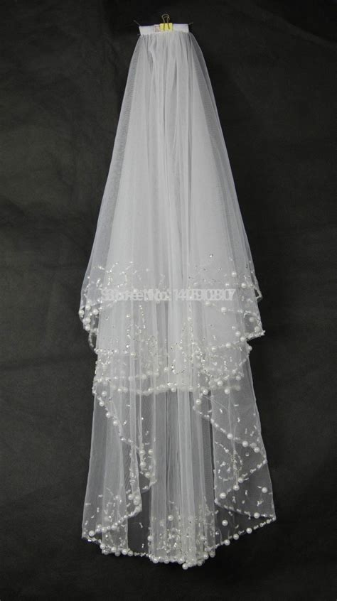 2t Whiteivory Beads Pearls Wedding Veil Bridal Veil With