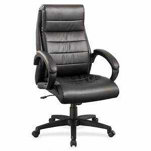 Lorell, Deluxe, High-back, Leather, Chair, -, Leather, Seat, -, Leather, Back, -, 5-star, Base, -, Black