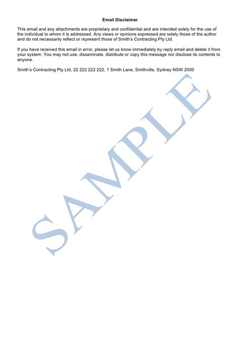 Email Disclaimer Template Sample LawPath