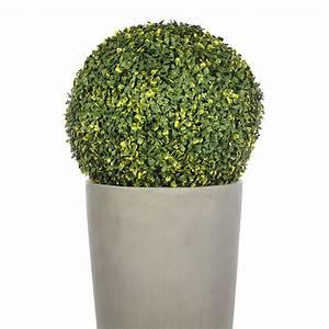 Boule De Buis : boule de buis artificielle 35 cm vert et jaune maison ~ Melissatoandfro.com Idées de Décoration