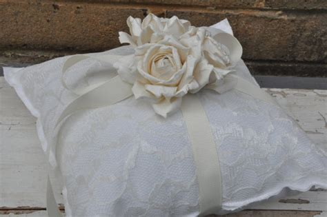 white cotton and lace ring bearer pillow simple ring bearer pillow woodland barn wedding