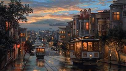 Painting Night Rainy Artistic Wallpapers 4k Train