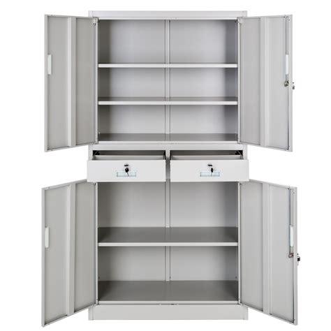 armoire de rangement metallique 2 tiroirs 4 portes meuble
