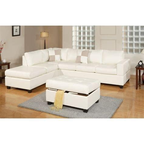 poundex bobkona soft touch 3 piece leather sectional sofa