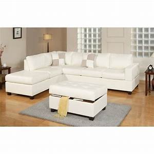 poundex bobkona soft touch 3 piece leather sectional sofa With lombardy bonded leather sectional sofa with ottoman and pillows