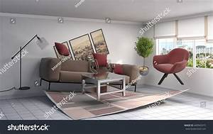 Zero Gravity Sofa Hovering Living Room Stock Illustration