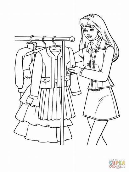 Coloring Choose Dibujos Colorear Dresses Shopping Compras