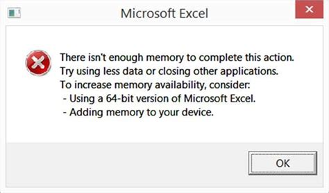 memory usage    bit edition  excel office