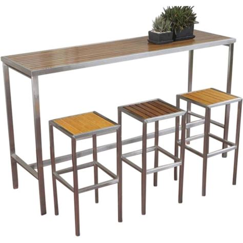 bar high top tables hayman outdoor high bar table stainless steel and teak