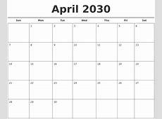 April 2030 Free Calendar Template