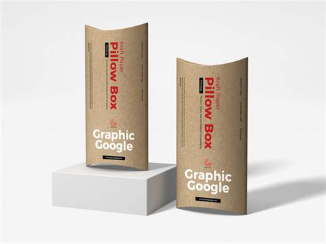 Showcase packaging design on front, side panel and top of the box by available format: Free Kraft Paper Pillow Box Mockup - Graphic Google ...