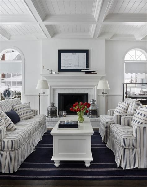 Nautical Navy  Traditional  Living Room  Other Metro
