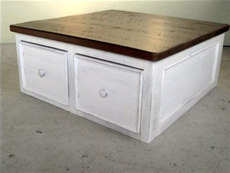 square farmhouse coffee table square reclaimed wood coffee table with drawers