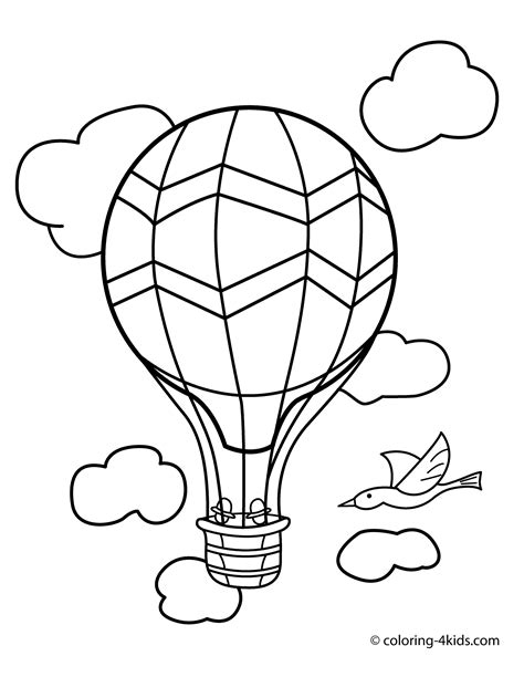 Kleurplaat Go Water by Balloon Transportation Coloring Pages Aerostat For