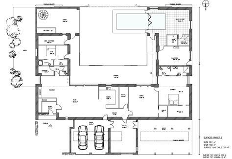 plan maison piscine interieure technique