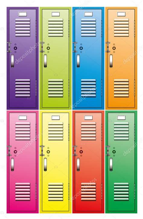 armadietti metallici set vettoriale di armadietti metallici scuola vettoriali