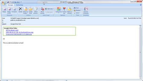 outlook plugin  send large files  google drive