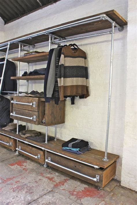 board scaffolding pipe open wardrobe davis shelves stained hanging industrial reclaimed furniture oak rails apartment closet rail bedroom urban steel