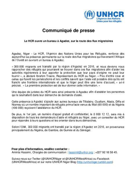 bureau de presse document unhcr niger communiqué de presse
