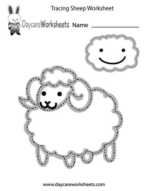 preschool tracing sheep worksheet