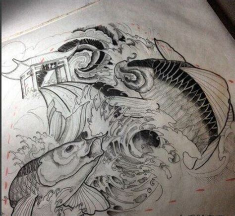 Bản vẽ hình xăm cá chép rất chi tiêt. Hình xăm cá chép vượt vũ môn - Blog Hình Xăm Đẹp