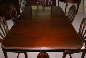 mahogany dining room set pictured above is a mahogany duncan phyfe pedestal dining room table with one board and a