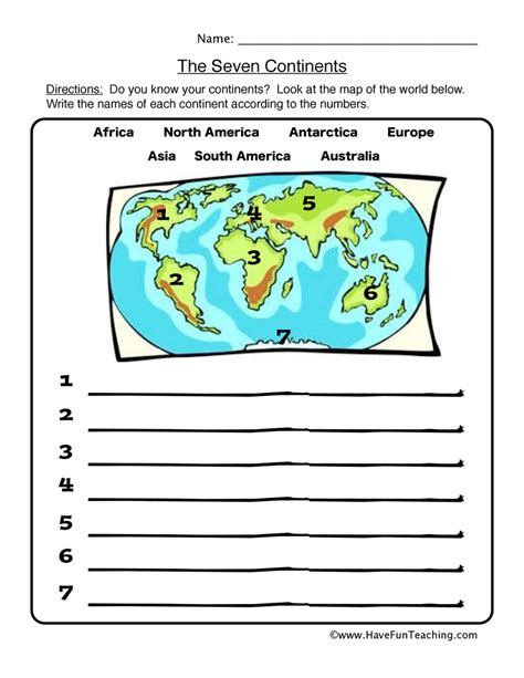 continents worksheet the seven continents