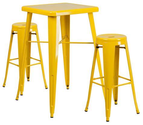 flash furniture metal 3 bar table set in blue
