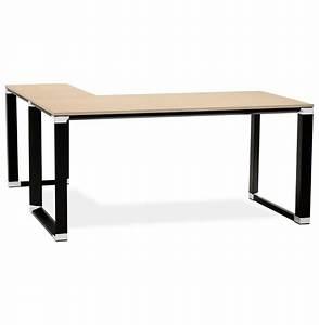 Bureau D Angle En Bois : bureau d 39 angle design xline en bois finition naturelle et m tal noir ~ Melissatoandfro.com Idées de Décoration
