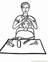 Coloring Barber Salon Template sketch template