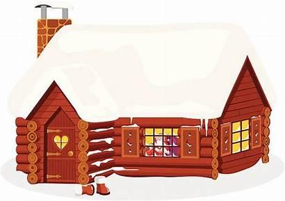 Cabin Log Cartoon Vector Silhouette Clip Santa